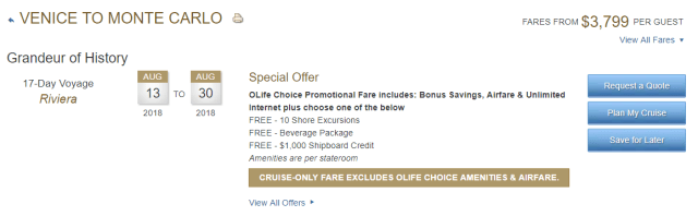 best cruises for couples: oceania cruises prices