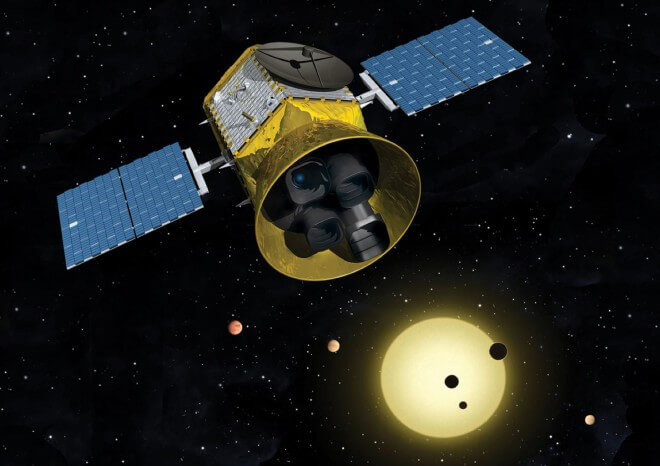 The TESS satellite, which will launch in 2017, will use four cameras to search for exoplanets around bright nearby stars. MIT