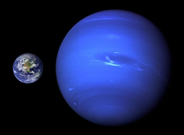 The discovery of a menagerie of exoplanets sized greater than Earth and smaller than Neptune has changed thinking about planets and solar systems. The radius of Neptune is almost 4 times greater than Earth's, and the planet's mass is 17 times greater than our planet. (NASA)
