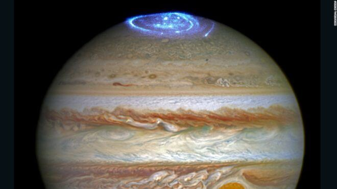 ASA's Hubble Space Telescope captured images of Jupiter's auroras on the poles of the gas giant. The observations were supported by measurements taken by Juno. (NASA)