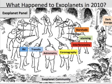 """A cartoon from Chas Beichman's ExoPAG presentation illustrates the infighting within the exoplanet science community during the 2010 decadal survey, with cosmologists, represented by """"dark energy"""" to the side, ready to reap the benefits of that debate."""