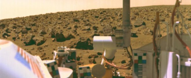 Image taken by Viking 2 on Mars in 1976. Results from both Viking landers reported no organic material in their samples, strongly suggesting there was no chance of current or past life. Recent readings by the SAM instrument on the Curiosity rover suggest the Viking conclusions were not correct, and that the instruments then did not have the capacity to detect Martian organics. NASA