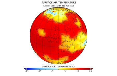 The red areas in the figure are mostly ocean areas, with temperatures of about 25 degrees C, like a tropical resort (but very humid). The highland areas have temperatures just above freezing (yellow) or below freezing (blue) in the most mountainous parts. (NASA GISS-Columbia University)