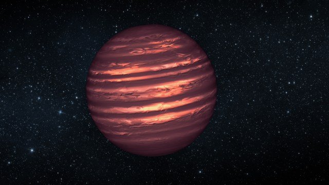 Brown dwarfs -- like the one illustrated here - are more massive and hotter than planets but lack the mass required to become sizzling stars. Their atmospheres can be similar to Jupiter's, with wind-driven, planet-size clouds. (NASA/JPL-Caltech)