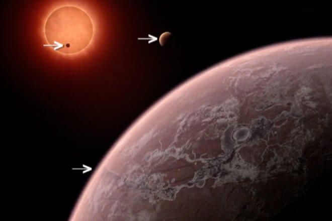 Artist's impression of the two planets in the Trappist-1 solar system. These worlds have sizes, temperatures and potentially atmospheres similar to those of Venus and Earth. Some believe they may be the best targets found so far for the search for life outside the solar system. They are the first planets ever discovered around such a tiny and dim star. (Nasa/ESA/STScI)