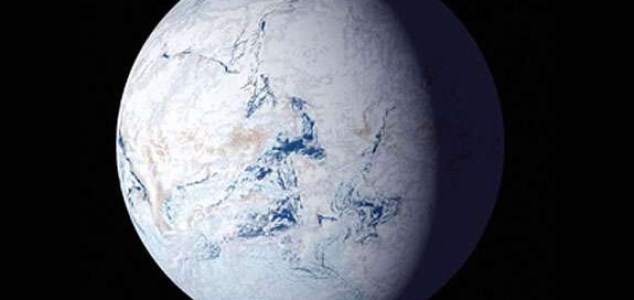 """Snowball, or """"slushball"""" Earths have occurred several times in Earth history, covering large swaths and perhaps at times all of the planet in glacial ice and snow. NSF"""