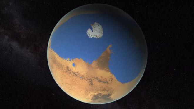 Artist rendering of a possible northern ocean on Mars. (NASA/ JPL-Caltech.)