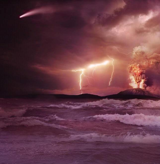 Artist conception of early Earth. (NASA/JPL-Caltech)