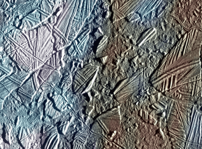 Bizarre features on Europa's icy surface suggest a warm interior. This view of the surface and shows a color image set within a larger mosaic of low-resolution monochrome images. The Galileo spacecraft was able to survey only a small fraction of Europa's surface in color at high resolution; a future mission would include a high-resolution imaging capability to capture a much larger part of the moon's surface. (NASA/JPL-Caltech)