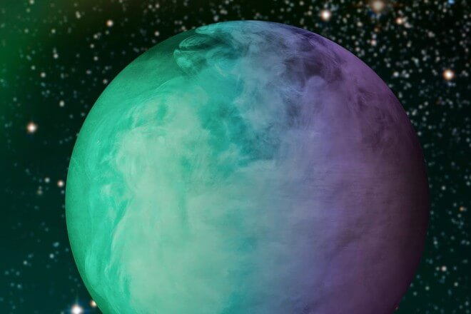 Analysis of data from the Kepler space telescope has shown that roughly half of the dayside of the exoplanet Kepler-7b is covered by a large cloud mass. Statistical comparison of more than 1,000 atmospheric models show that these clouds are most likely made of Enstatite, a common Earth mineral that is in vapor form at the extreme temperature on Kepler-7b. These models varied the altitude, condensation, particle size, and chemical composition of the clouds to find the right reflectivity and color properties to match the observed signal from the exoplanet. Courtesy of NASA (edited by Jose-Luis Olivares/MIT)