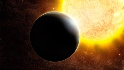 Artist's rendering of a Jupiter-sized exoplanet and its host, a star slightly more massive than our sun. Image credit: ESO