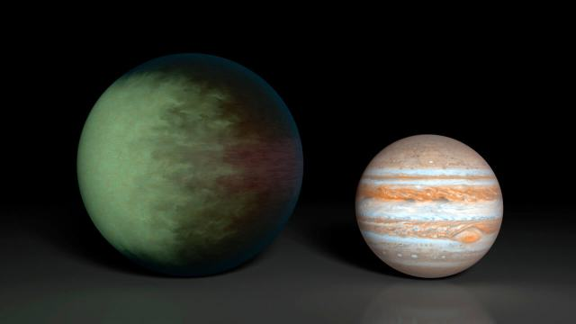 Artist's conception of the clouds on Kepler-7b, compared for size with Jupiter (right). Many exoplanets and brown dwarfs have mostly hydrogen-helium atmospheres that are covered in layers of mineral dust, while Jupiter's hydrogen-helium atmosphere has clouds of ammonia. (NASA/JPL-Caltech/MIT)