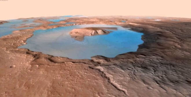 Rendering of Gale Lake some 3.5 billion years ago, when Mars was warmer and much wetter. The Curiosity mission is finding that Gale Crater water-changed rock is everywhere.