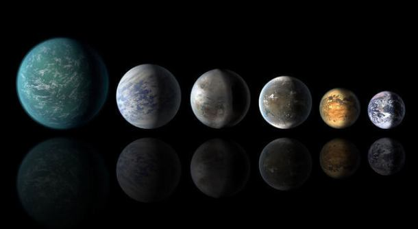 cientific illustrations of recently discovered, potentially habitable worlds. Left to right: Kepler-22b, Kepler-69c, Kepler-62e, and Kepler-62f, compared with Earth at far right. (Credit: NASA/Ames/JPL-Caltech)