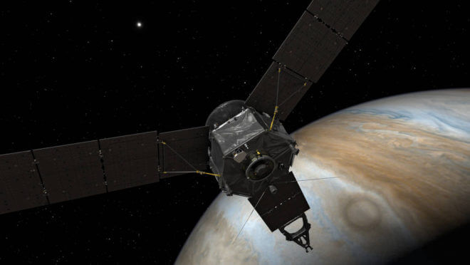 Artist illustration of Juno as it approaches Jupiter. NASA