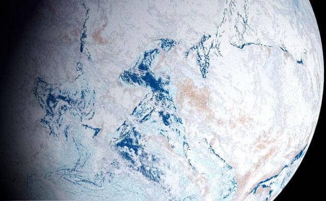 """A rendering of the theorized """"Snowball Earth"""" period when, for millions of years, the Earth was entirely or largely covered by ice, stretching from the poles to the tropics. This freezing happened over 650 million years ago in the Pre-Cambrian, though it's now thought that there may have been more than one of these global glaciations. They varied in duration and extent but during a full-on snowball event, life could only cling on in ice-free refuges, or where sunlight managed to penetrate through the ice to allow photosynthesis."""