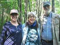 """Dr. Stacey Camp, Kooskia field director with Dr. Priscilla Wegars, author of """"Imprisoned in Paradise,"""" and her husband Terry Abraham at the Kooskia Internment camp. Photo by Laura Ng, courtesy of University of Idaho."""