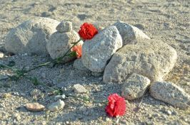 Flowers left on a grave marker at the Manzanar cemetery