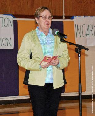 Susanne Norton La Faver, shown here during the open mic portion of the 2015 Manzanar At Dusk program.