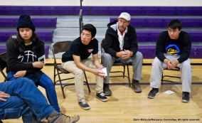 One of the small group discussions during the 2016 Manzanar At Dusk program.