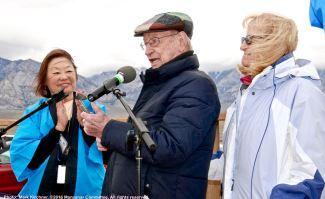 Former Inyo County Superviros Bob Bracey (center) received the 2016 Sue Kunitomi Embrey Legacy Award.