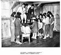 Manzanar's music teacher, Lou Frizsel with his students.