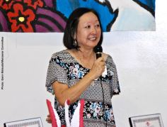 Manzanar Committee member Colleen Miyano addresses the audience during the 2nd Annual Student Awards Program