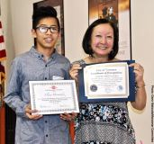 Student Awards recipient Eliseo Hernandez with Manzanar Committee member Colleen Miyano