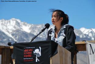 Juli Yoshinaga of the Cal State Long Beach Nikkei Student Union spoke on behalf of students