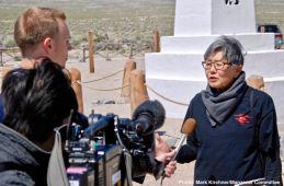 Former Manzanar incarceree and Manzanar Committee member Pat Sakamoto being interviewed