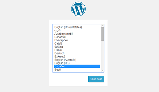 wordpress language selection