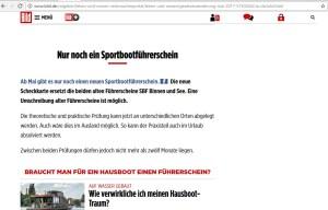 Bildschirmfoto mit einer Meldung auf bild.de vom 1. Mai 2017 mit dem Titel -Nur noch ein Sportbootführerschein-