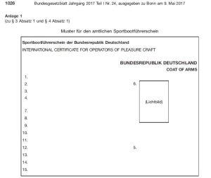 Muster für den Sportbootführerschein ab 1.1.2018, Auszug aus dem Bundesgesetzblatt, Anhang 1 der Sportbootführerscheinverordnung