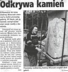"""Zbigniew Eckert: """"Odkrywa kamień"""", Dziennik Bałtycki nr 287 z dn. 09.12.1998, str. 11"""