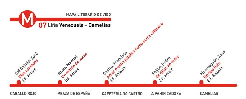 Mapa literario de Vigo - Biblioteca Municipal Xosé Neira Vilas Venezuela Camelias