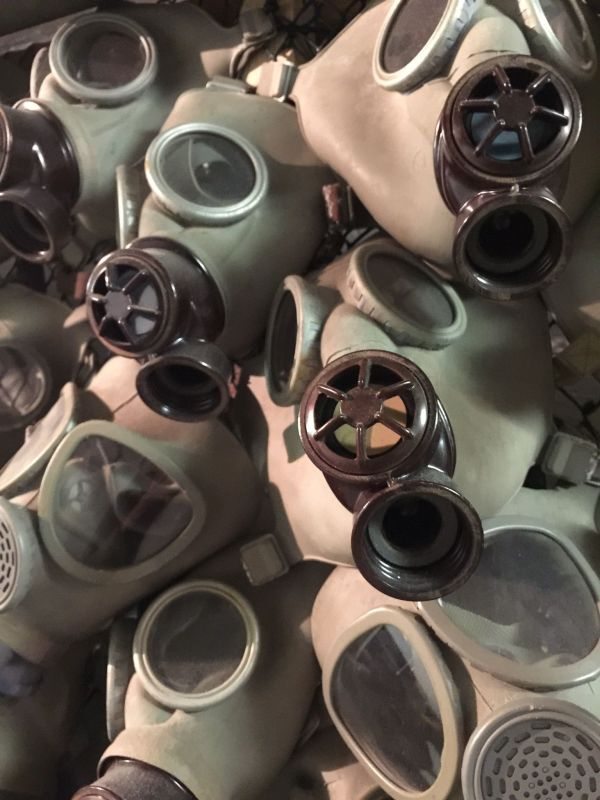 Offbeat Prague: Gas masks in a nuclear bunker used during the Cold war