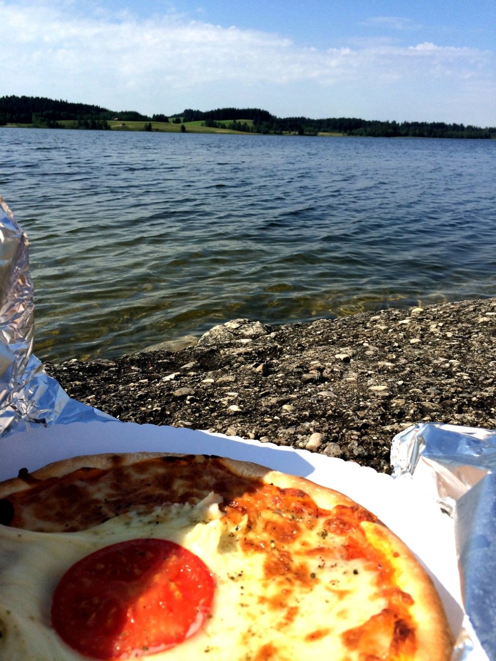 Vegetarian pizza by the lake near Neuschwanstein Castle