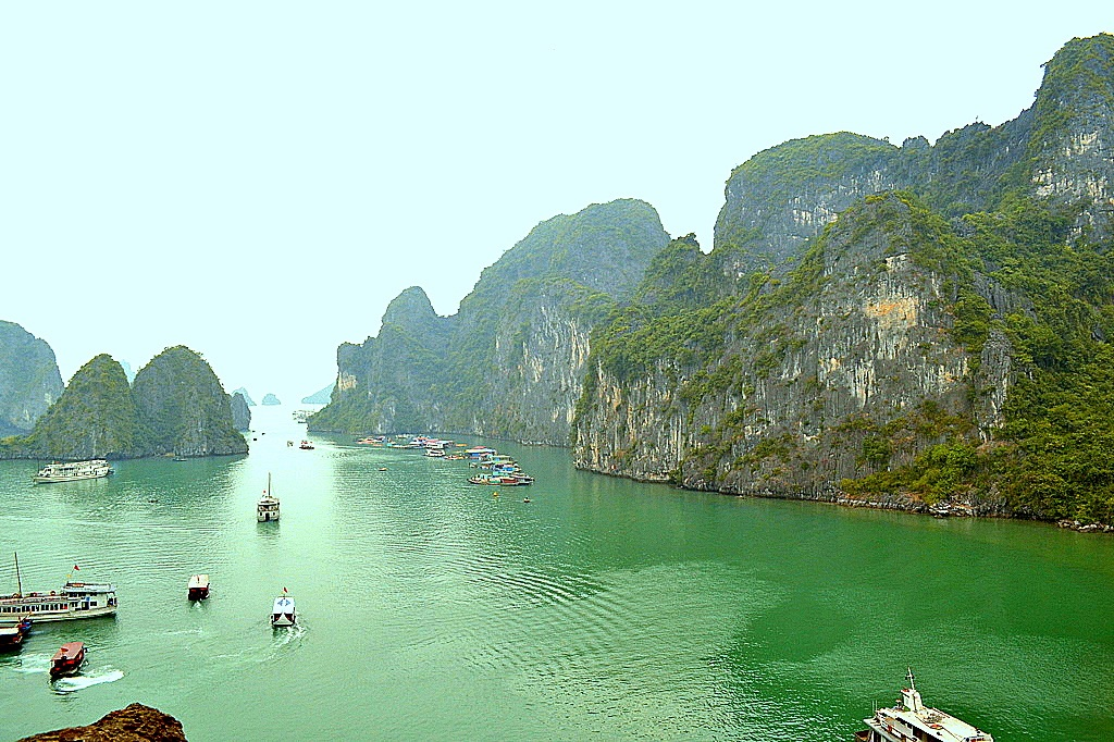 Panoramic view of Ha Long Bay in Vietnam
