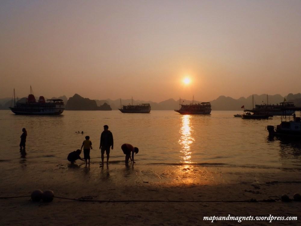 sunset coconut island ha long bay