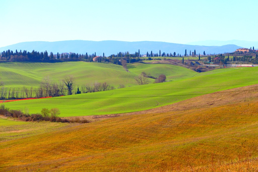 Tuscany rolling hills winter