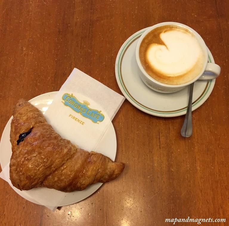 Vegan cornetti cappuccino Coronas Cafe Florence
