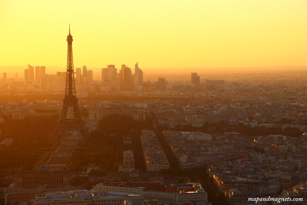 Sunset view of Eiffel Tower in Paris from Montparnasse Tower