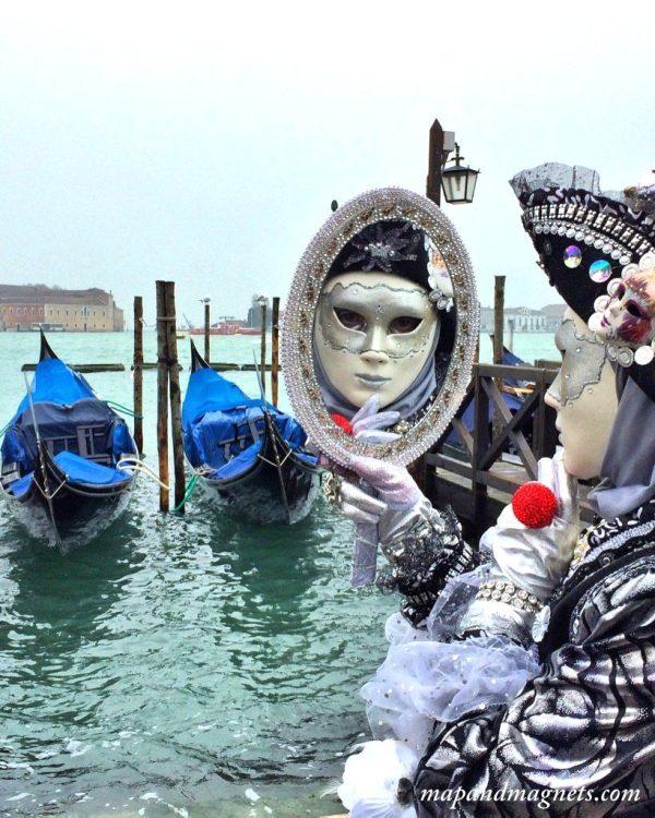 Venice Carnival mirror and gondola