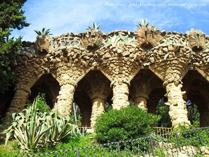 Funky pillars at the Park Guell in Barcelona