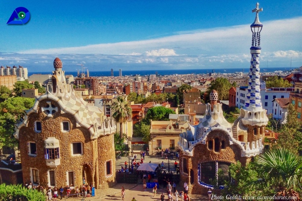 View at Park Guell in Barcelona constructed by Gaudi
