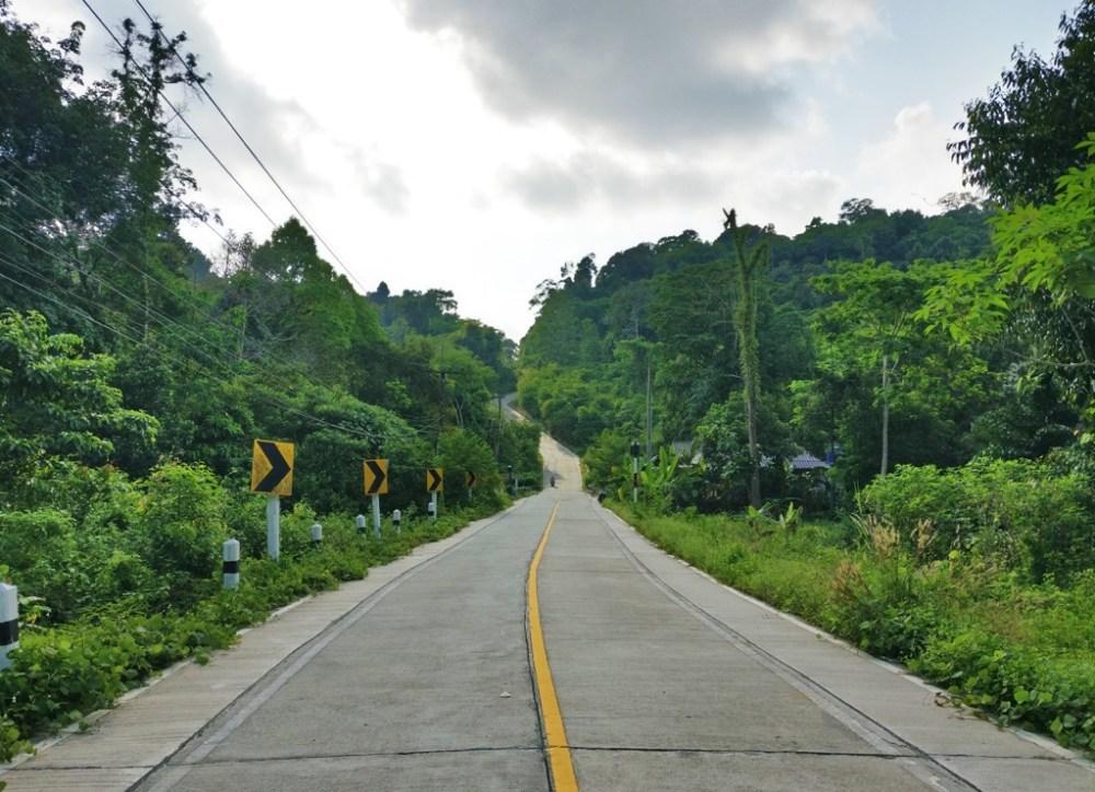 Road cutting across Koh Kood island in Thailand