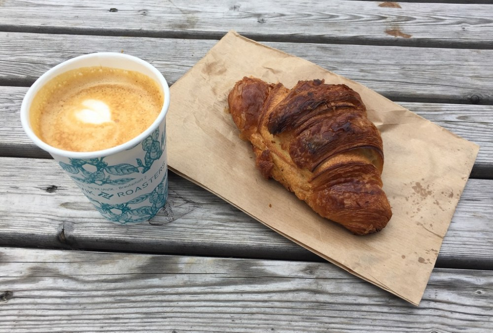Coffee and croissant in Reykjavik