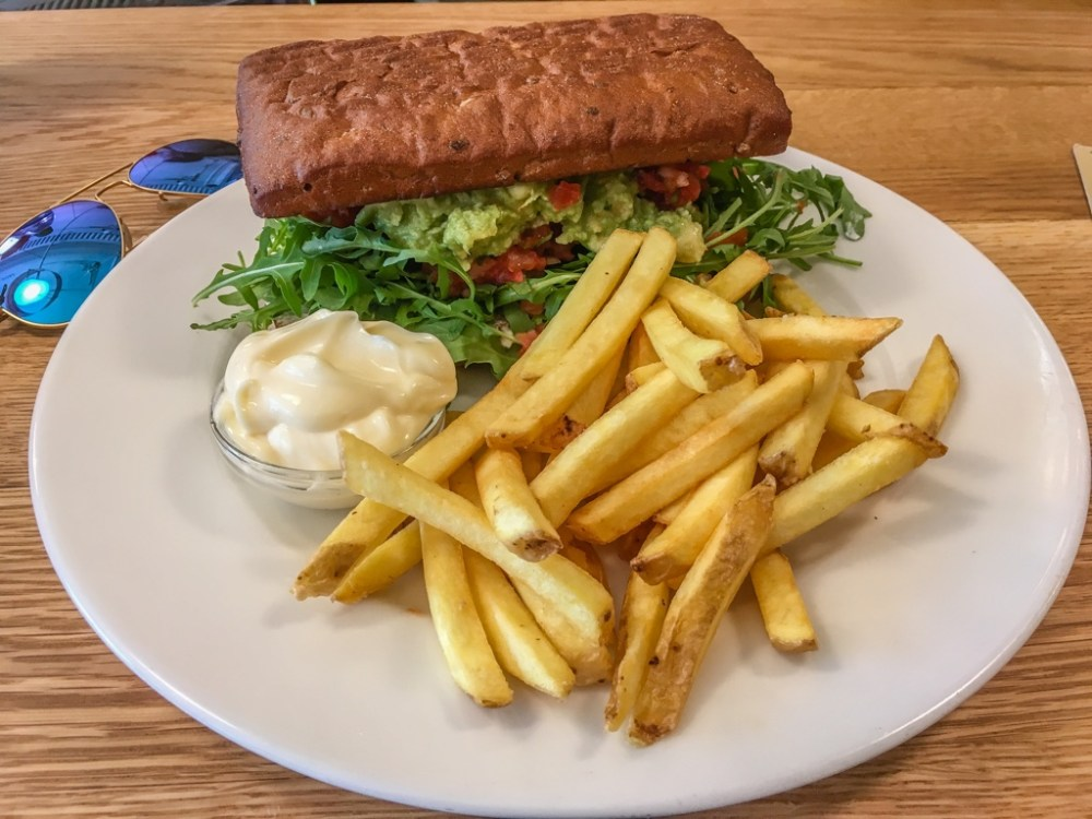 Sandwich and fries at Laundromat Cafe in Reykjavik