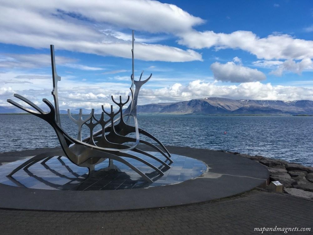 Sun voyager monument along the Reykjavik harbor