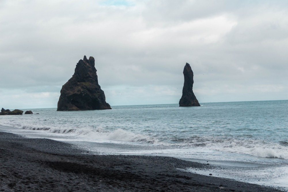 Reyjnisfjara black sand beach in Iceland